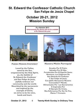 St. Edward the Confessor Catholic Church October 20-21, 2012 ...