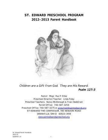 Parent Handbook - St. Edward's Preschool