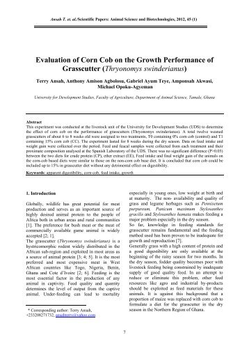 Evaluation of Corn Cob on the Growth Performance of Grasscutter ...