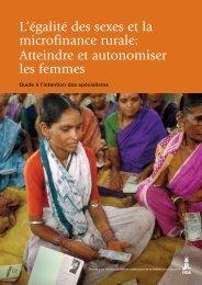 L'égalité des sexes et la microfinance rurale: Atteindre et ... - IFAD