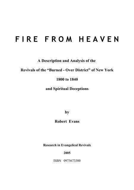 F I R E   F R O M   H E A V E N - Research in Evangelical Revivals
