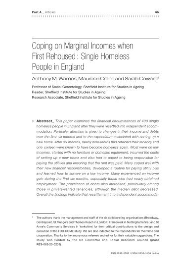 Coping on Marginal Incomes when First Rehoused: Single - Feantsa