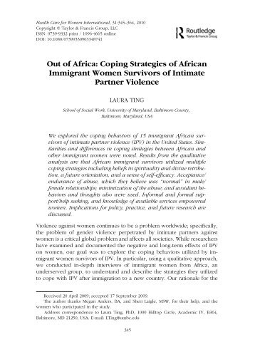 Out of Africa: Coping Strategies of African Immigrant Women ...