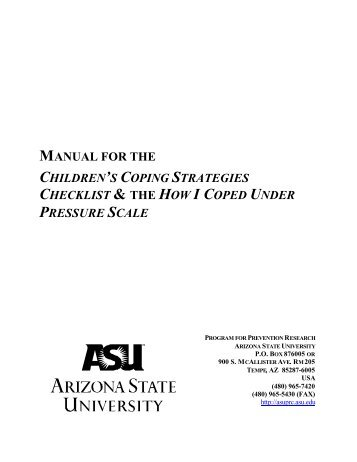 Manual for the Children's Coping Strategies Checklist