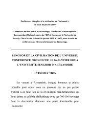 SENGHOR ET LA CIVILISATION DE L'UNIVERSEL CONFERENCE ...
