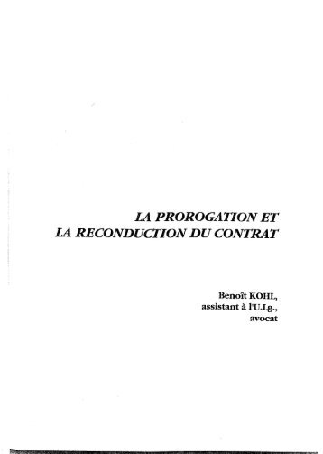 I21 PROROGATION ET LA RECONDUCTION DU CONTRAT - Stibbe
