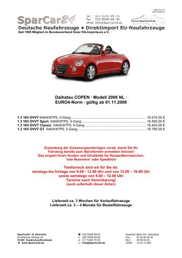 Daihatsu Copen MJ2006 NL Preisliste mit Farbtafeln ... - SparCar24