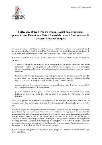 Lettre circulaire 11/12 du Commissariat aux assurances portant ...