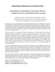 Single Molecule Biophysics Contributed Talks - Laboratoire de ...