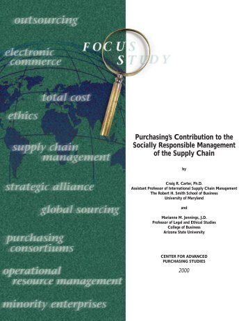 Purchasing's Contribution to the Socially Responsible Management ...