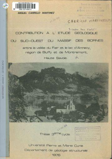 [tel-00743927, v1] Contribution a l'etude geologique du sud-ouest ...