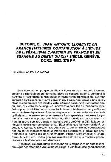 dufour, g.: juan antonio llórente en france (1813-1822 ... - RUA