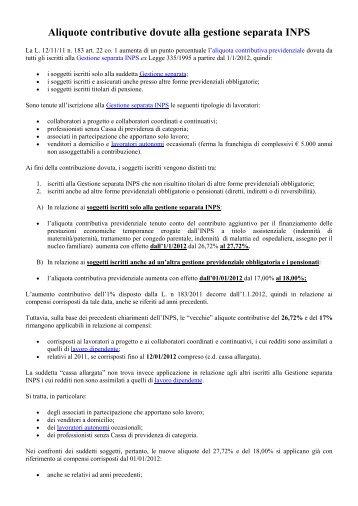 Aliquote contributive in vigore dal 1 1 2011 lavoratori for Aliquote iva in vigore
