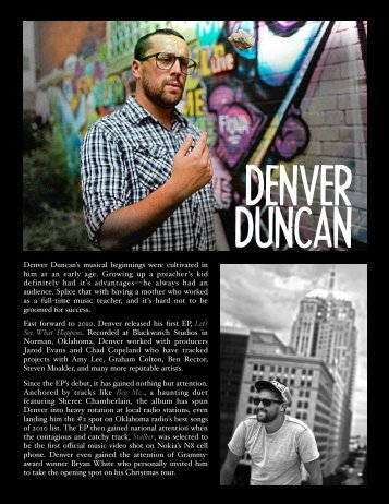 Denver Duncan's musical beginnings were cultivated in him at an ...
