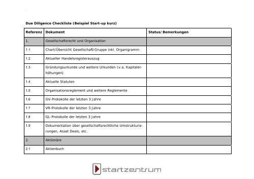 Due Diligence Checkliste Beispiel Start Up Kurz Startzentrum