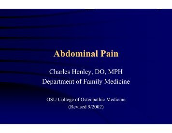 Common Causes of Abdominal Pain - Oklahoma State University ...