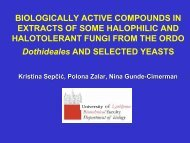 Biologically active compounds in extracts of some halophilic