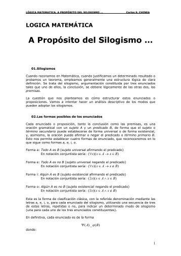 LOGICA MATEMÁTICA A Propósito del Silogismo - Casanchi