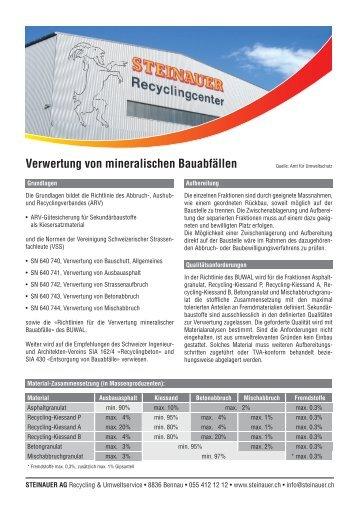 Verwertung von mineralischen Bauabfällen - STEINAUER AG ...