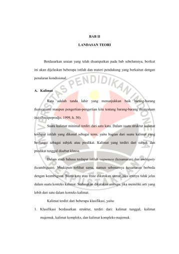 BAB II LANDASAN TEORI Berdasarkan uraian ... - Repository UPI