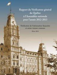 Rapport complet - Vérificateur général du Québec - Gouvernement ...