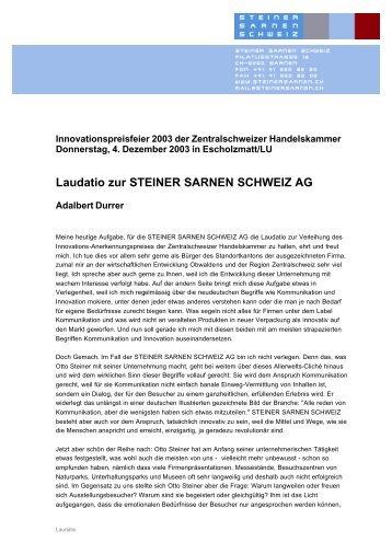 Laudatio zur STEINER SARNEN SCHWEIZ AG