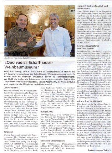 Schaffhauser Nachrichten 11.03.10 - Steiner Sarnen Schweiz