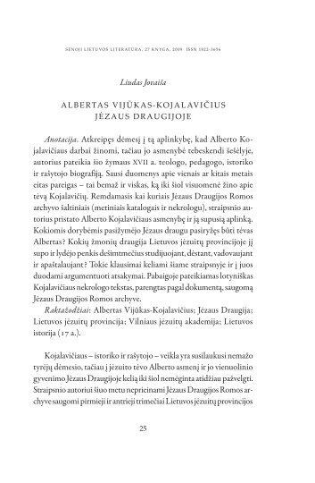 Albertas Vijūkas-Kojalavičius Jėzaus Draugijoje - Lietuvių literatūros ...