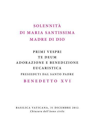 SOLENNITÀ DI MARIA SANTISSIMA MADRE DI ... - La Santa Sede