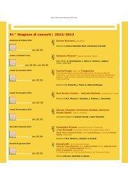 91^ Stagione di concerti | 2012/2013 - Club Unesco Udine