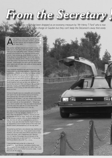 View Example Magazine Article - DeLorean Owners Club UK