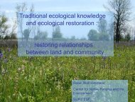 Traditional ecological knowledge and ecological restoration ...