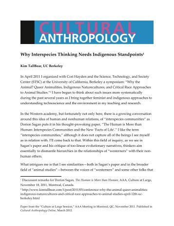 Why Interspecies Thinking Needs Indigeneous - Cultural Anthropology
