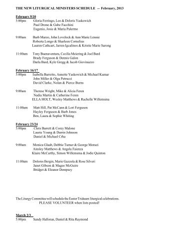 THE NEW LITURGICAL MINISTERS SCHEDULE -- February, 2013 ...