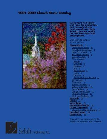 Selah 2001-2002 Catalog - Selah Publishing Co.