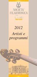 programma e artisti stagione 2012 - Società Filarmonica Trento