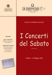 Libretto Concerti del Sabato 2012 - Pesaro - Conservatorio ...