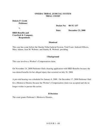 Oneida Reporter Vol 14 Trial Court - The Oneida Nation of Wisconsin