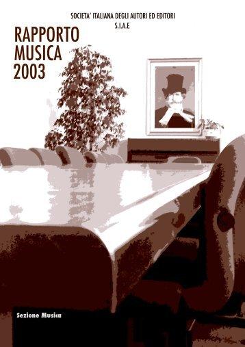 Rapporto Musica 2003 - Cultura in Cifre
