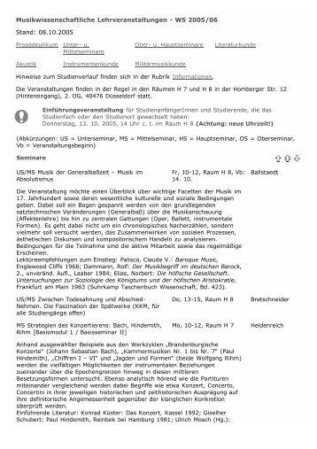 Wintersemester 2004/2005 - Robert Schumann Hochschule ...