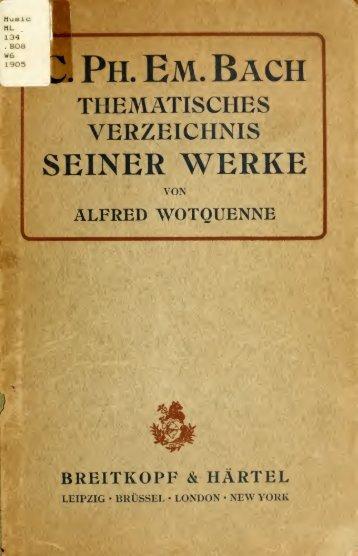 Thematisches Verzeichnis der Werke von Carl ... - Walter Cosand