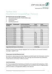 Tarifliste 2012 Haus Bethanien (Langzeitpflege ... - Stiftung Siloah