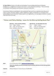 """""""Values and Policy Making: Issues for the Murray Darling Basin Plan"""""""