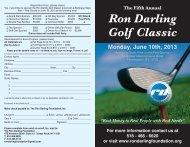 Fifth Annual Ron Darling Golf Classic Invitation