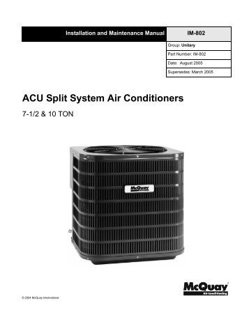mcquay air conditioning manual on