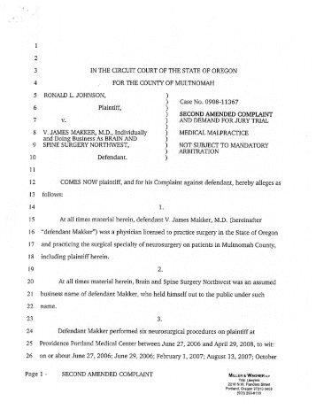 Ronald Johnson v. V. James Makker 1/25/2011
