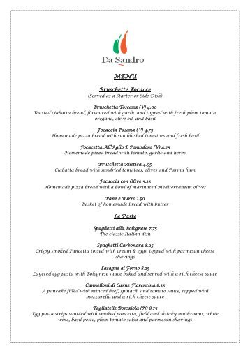 Da Sandro Menu & Wine List.pdf - Briar Court Hotel