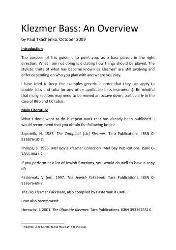 Klezmer Bass: An Overview - Paul Tkachenko