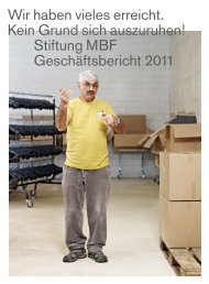 Geschäftsbericht 2011 der Stiftung MBF