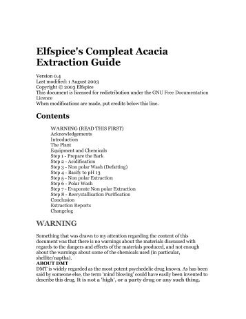 Elfspice's Compleat Acacia Extraction Guide